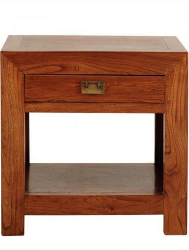 Mesita cuadrada 60 1 cajon y puerta madera el globo muebles for Mesitas de madera