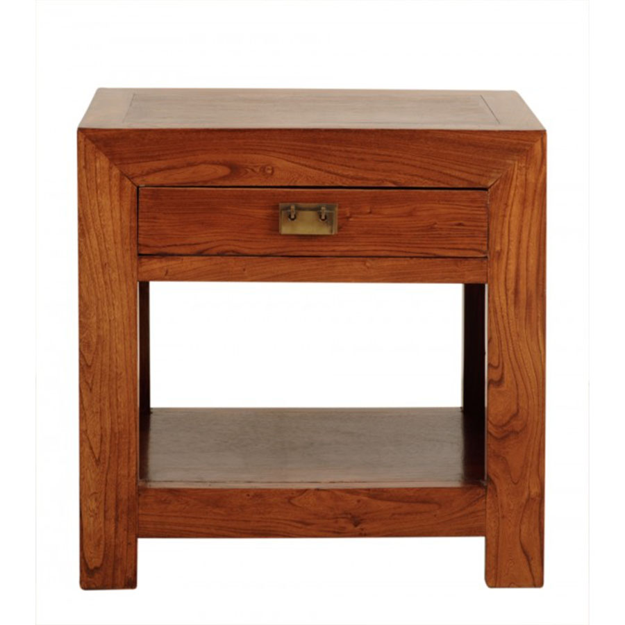 Mesita cuadrada 60 1 cajon y hueco el globo muebles - Mesita de noche madera ...