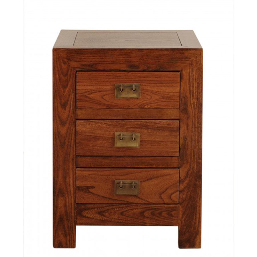 Mesita cuadrada 45 3 cajones el globo muebles - Mesita de noche madera ...