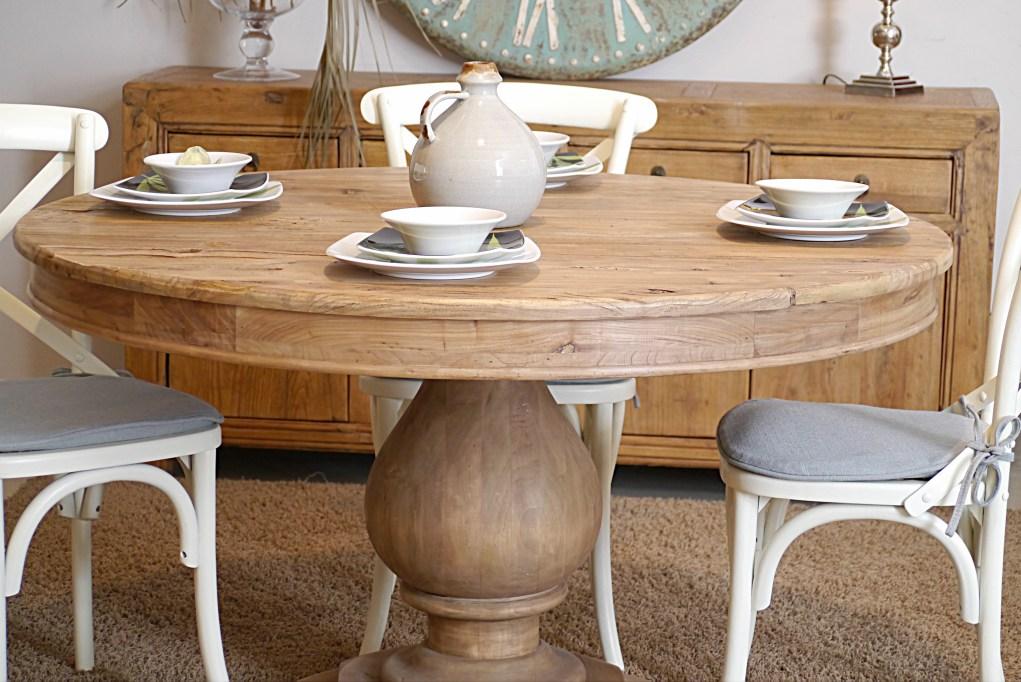 Mesa comedor redonda de madera reciclada con pie bulbo 130 - Mesa madera reciclada ...