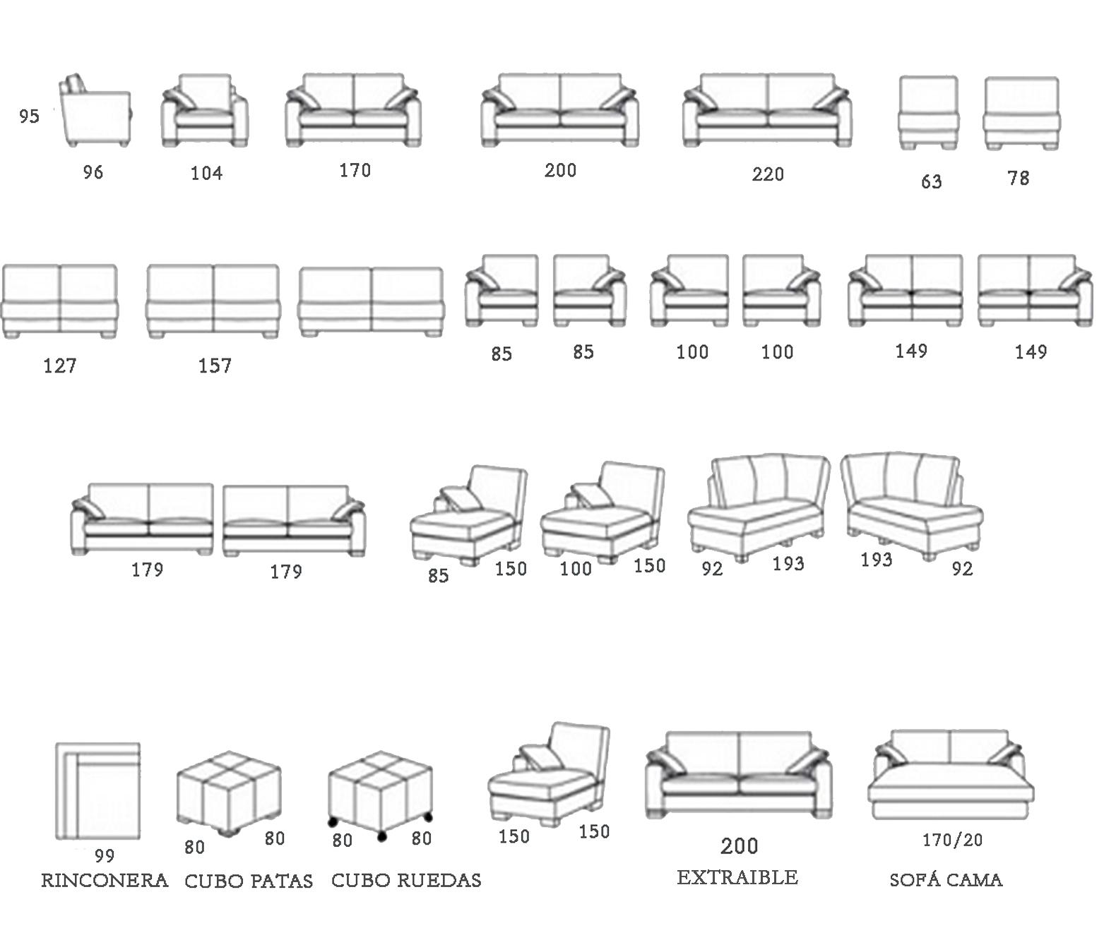 Sofa modular rolly el globo muebles for Medidas de mobiliario de una casa