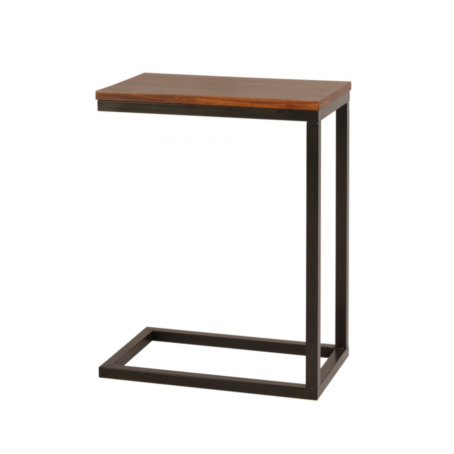 Mesita auxiliar hierro y madera el globo muebles for Mesas de hierro forjado y madera