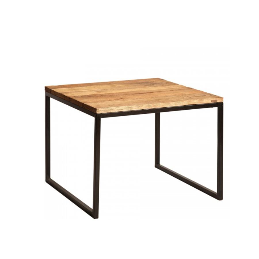 Mesa rincon de hierro y madera el globo muebles - Mesas de forja y cristal ...