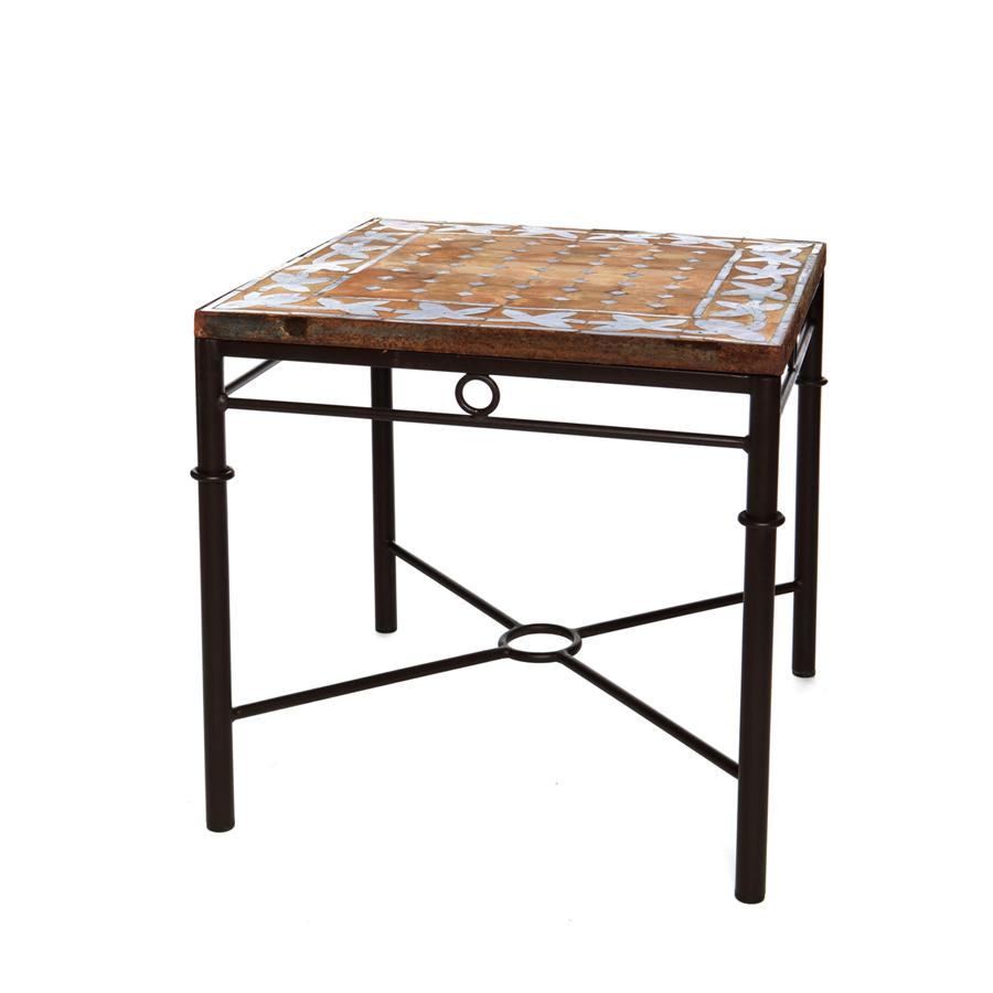 Mesa auxiliar forja y ceramica de marruecos el globo muebles - Mesa de forja ...