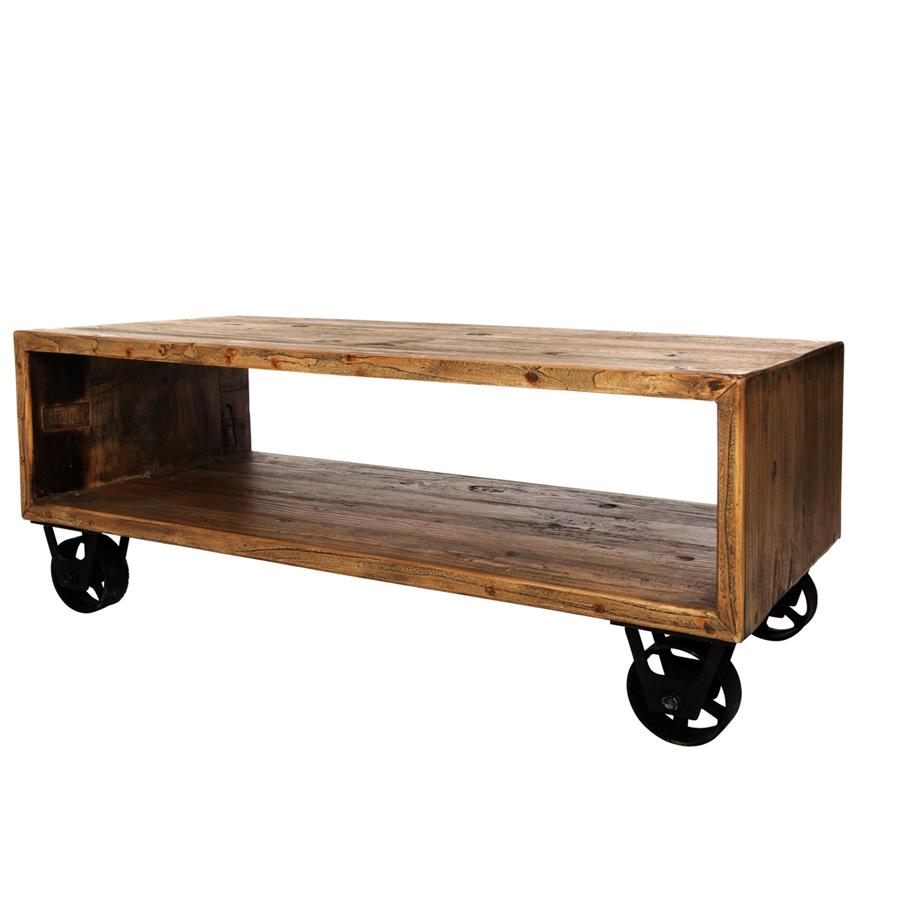 Mesa de centro con ruedas el globo muebles for Ruedas industriales antiguas para muebles