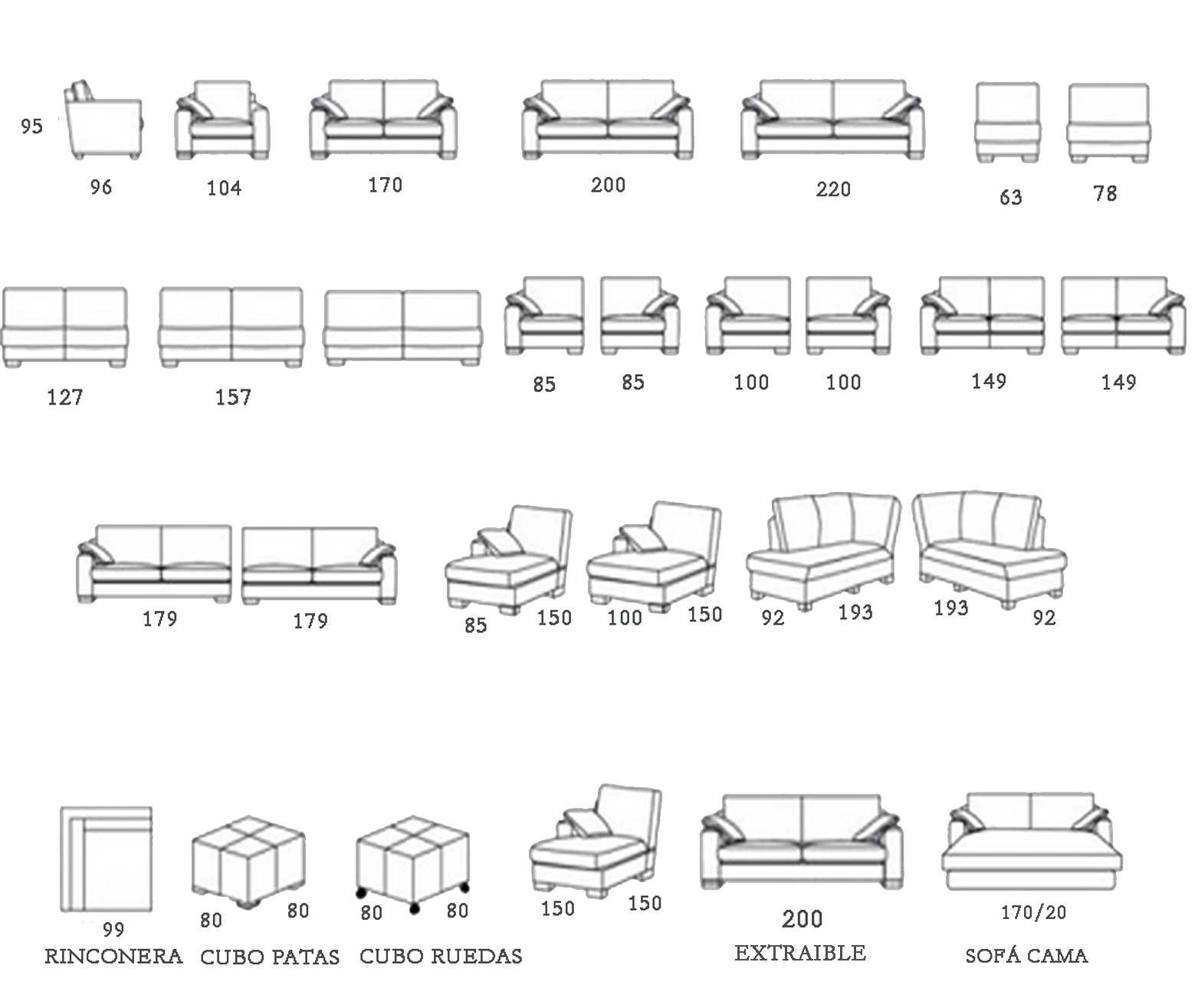 Sofa modular rolly el globo muebles for Medidas de muebles en planta