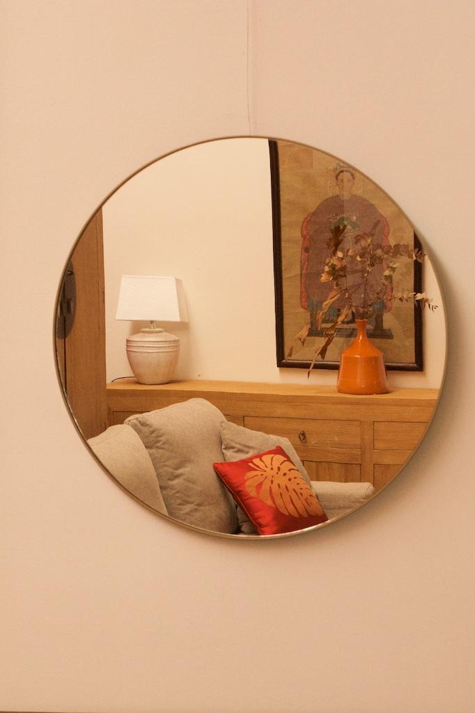 Espejo boston redondo de perfil fino el globo muebles for Espejo redondo grande