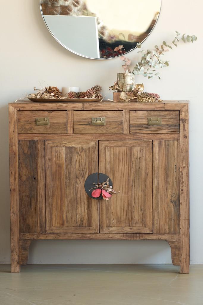 Aparador estrecho 100 en madera reciclada el globo muebles for Muebles de madera reciclada