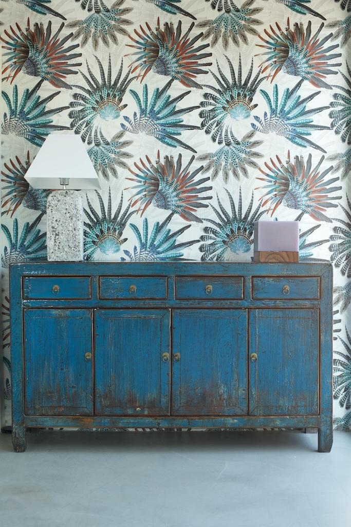 Aparador azul plumas baja el globo muebles - El globo muebles madrid ...
